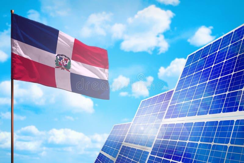 Energia alternativa da República Dominicana, conceito da energia solar com ilustração industrial da bandeira - símbolo da luta co ilustração do vetor