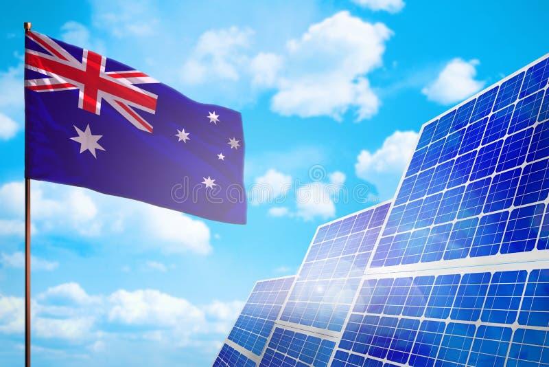 Energia alternativa de Austrália, conceito com bandeira - símbolo da energia solar da luta com aquecimento global - ilustração in ilustração do vetor