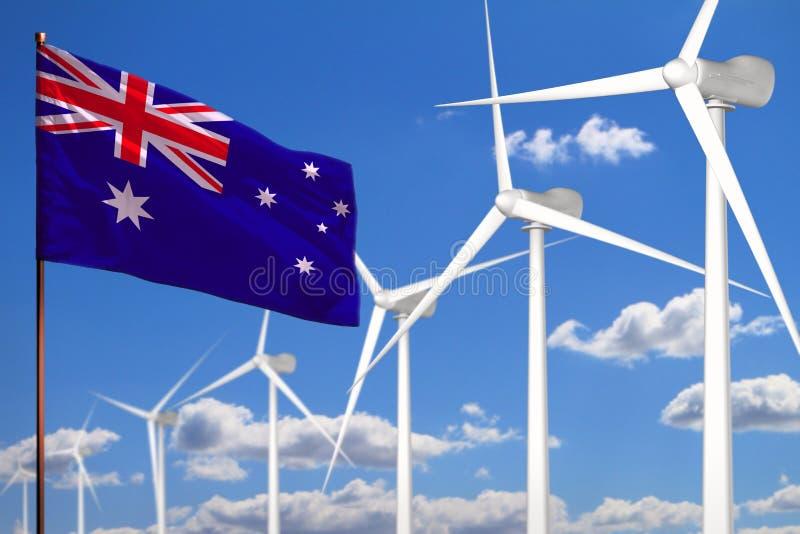 Energia alternativa de Austrália, conceito industrial das energias eólicas com moinhos de vento e bandeira - energia renovável al ilustração do vetor