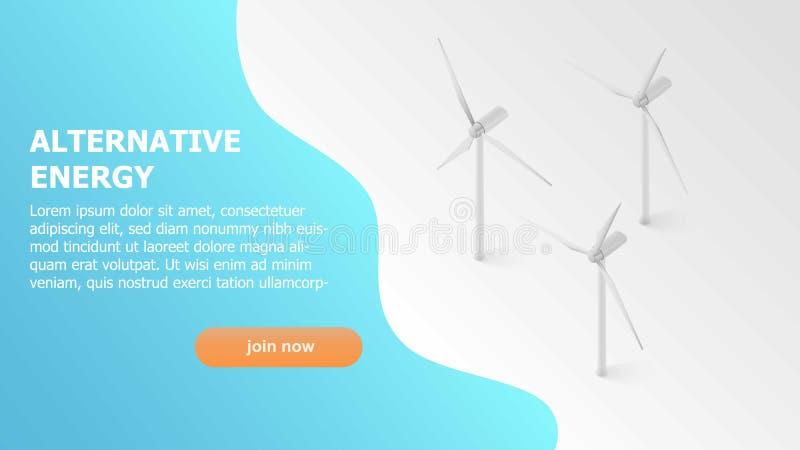 Energia alternativa Solare, energia eolica Concetto della pagina Web per la vostra progettazione pagina isometrica di atterraggio illustrazione vettoriale