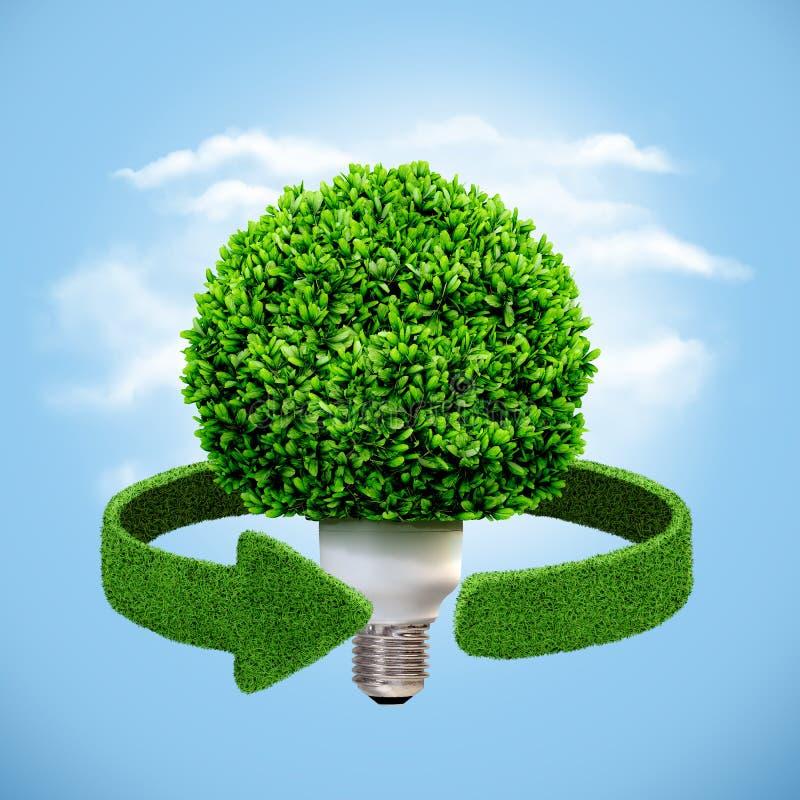 Energia concettuale di eco Lampada e frecce verdi dall'erba Riciclaggio del concetto illustrazione di stock