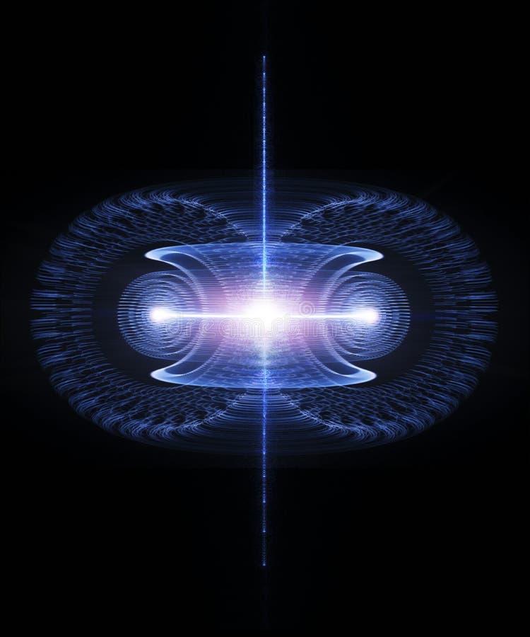 A energia corre através de um toro Campo antigravitante, magnético, fusão nuclear ilustração do vetor