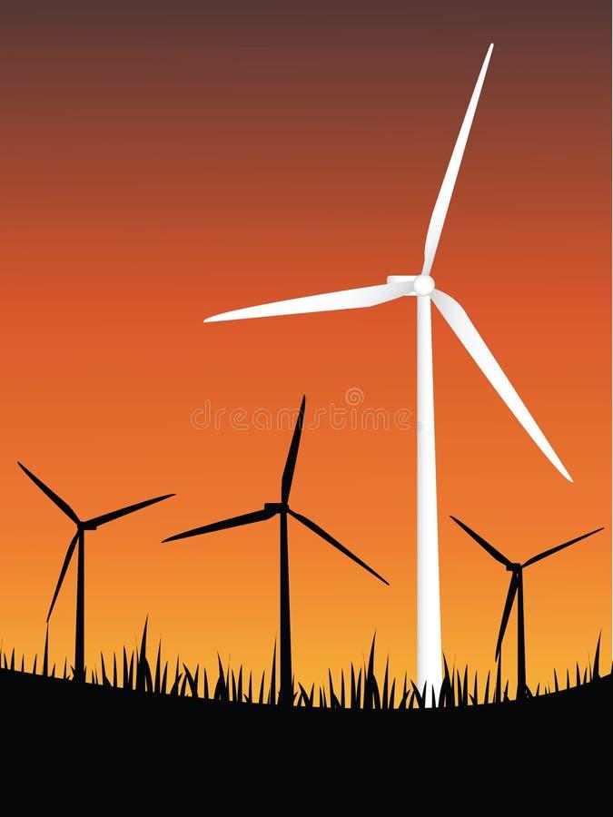 Energia das turbinas de vento ilustração royalty free
