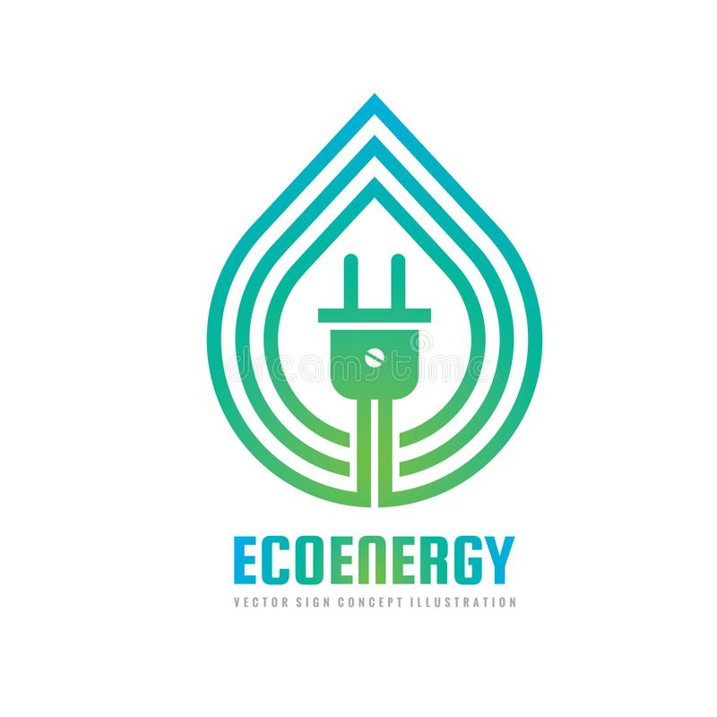 Energia de Eco - ilustração do vetor do molde do logotipo do conceito Sinal criativo das energias verdes ambientais ecológicas Su ilustração stock