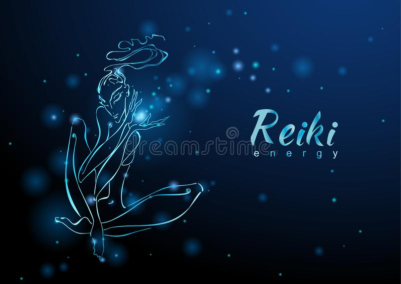 A energia de Reiki A menina com o fluxo da energia meditation Medicina alternativa esoteric Vetor ilustração stock