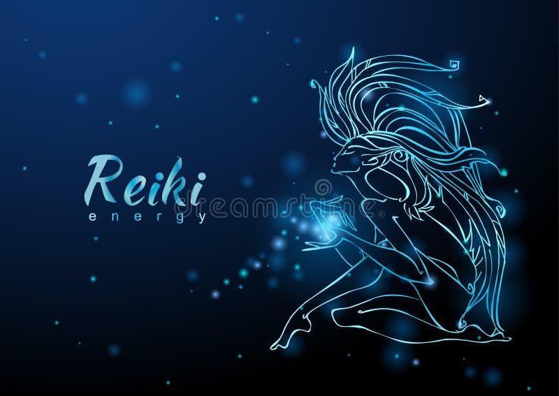 A energia de Reiki A menina com o fluxo da energia meditation Medicina alternativa esoteric Vetor ilustração do vetor
