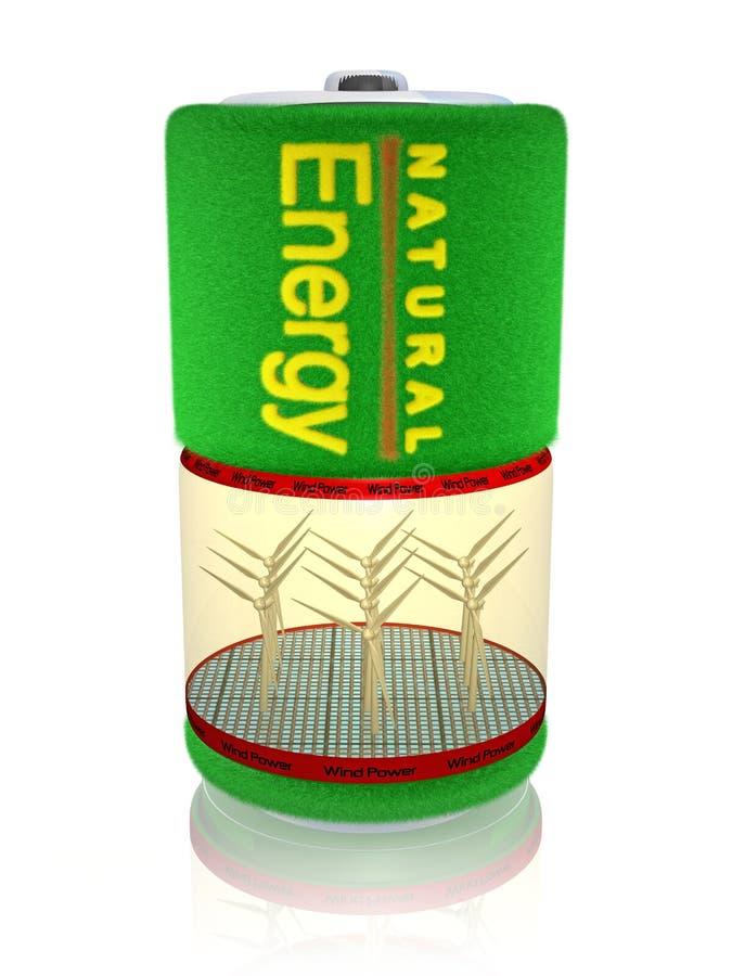 Energia de vento da bateria ilustração do vetor