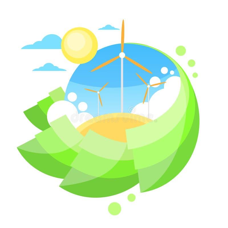 Download Energia Dell'erba Verde Di Sun Del Cielo Blu Della Torre Del Generatore Eolico Illustrazione Vettoriale - Illustrazione di icona, colore: 56881662
