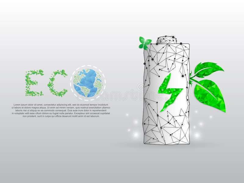 Energia do carregamento de bateria ECO, terra do planeta com uma folha verde que cresça dela Baixo wireframe poli, vetor poligona ilustração royalty free
