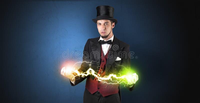 Energia do mágico entre suas mãos ilustração do vetor