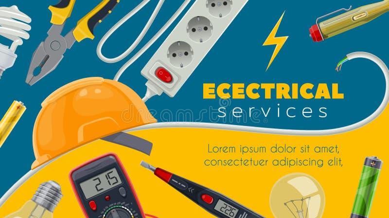 Energia elétrica, cabo da energia, verificador, ampolas ilustração do vetor