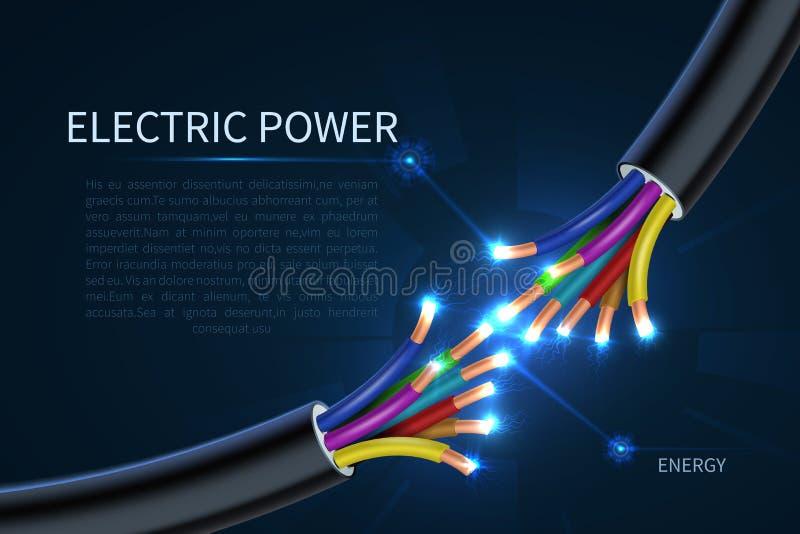 A energia elétrica cabografa, fundo industrial do vetor do sumário dos fios bondes da energia ilustração royalty free