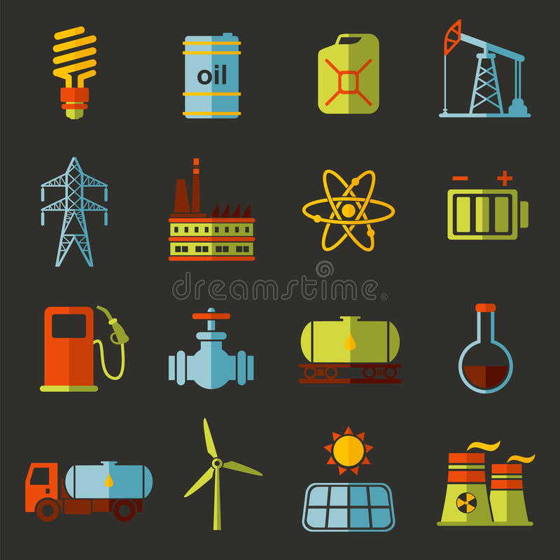 Energia, elektryczność, władzy ikony wektorowy płaski set ilustracji