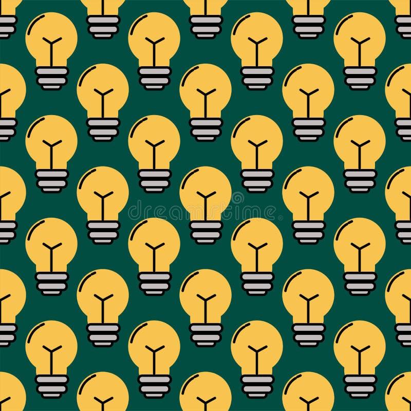 Energia elettrica della soluzione di lampo di genio del modello della lampadina delle lampade del fumetto del fondo dell'illustra illustrazione vettoriale