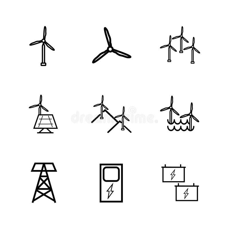 Energia eolica rinnovabile Insieme e caricatore dell'icona Colore del nero del mulino a vento royalty illustrazione gratis