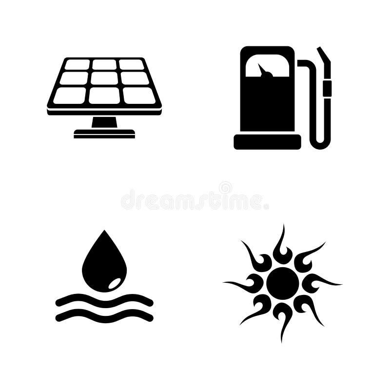Energia Icone relative semplici di vettore illustrazione vettoriale