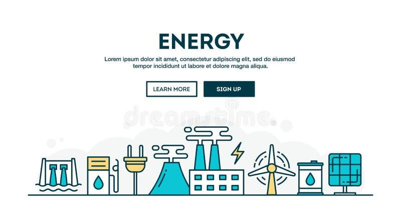 Energia, intestazione variopinta di concetto, linea stile sottile di progettazione piana illustrazione vettoriale