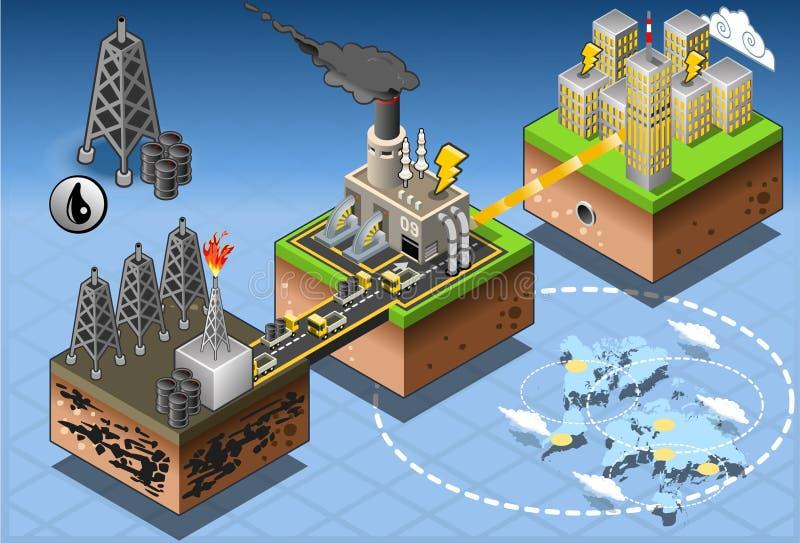 Energia isométrica do petróleo de Infographic que colhe o diagrama ilustração stock