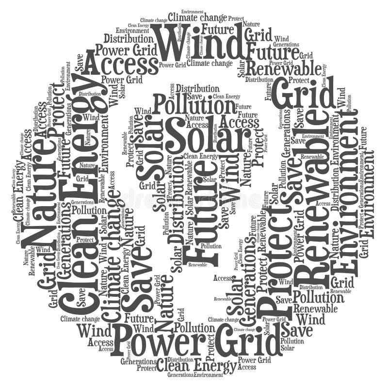 Energia limpa - ilustração da nuvem da palavra ilustração do vetor