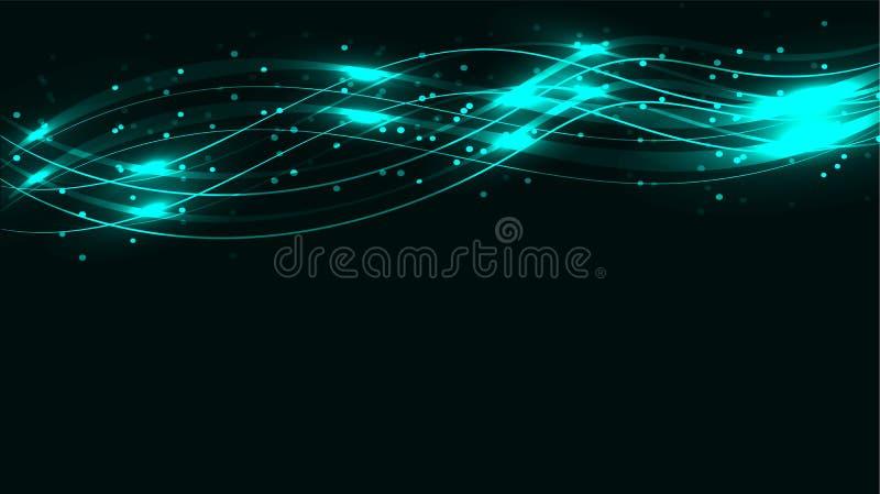 A energia mágica cósmica mágica brilhante abstrata transparente azul alinha, irradia com brilho e os pontos e a luz brilham nos v ilustração stock