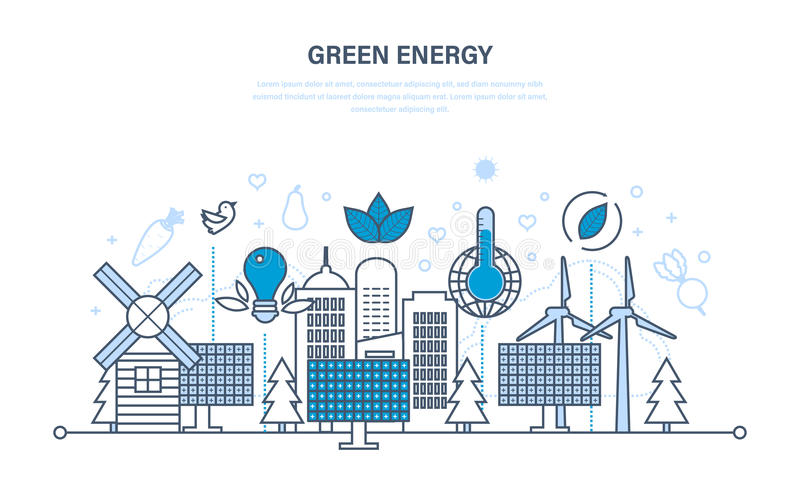 Energia natural, recursos a favor do meio ambiente e tratamento cuidadoso deles ilustração royalty free