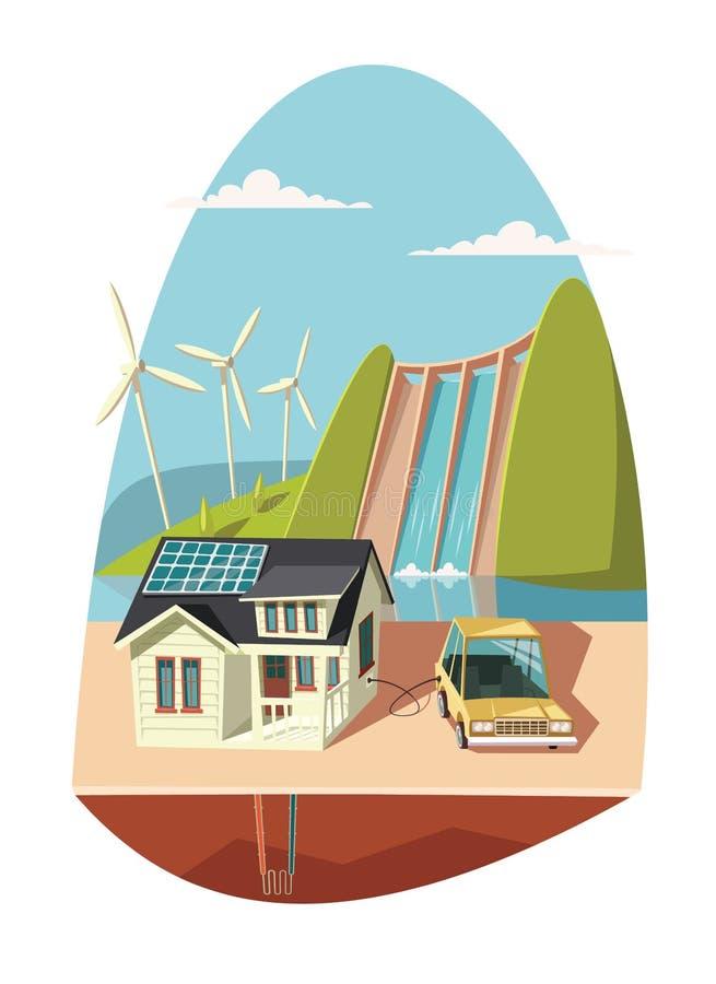 Energia odnawialna dla ładować elektrycznego samochód royalty ilustracja