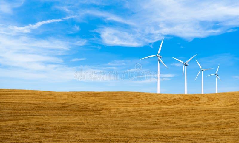 Energia odnawialna z silnikami wiatrowymi Silnik wiatrowy w wzg?rzu Ekologii ?rodowiskowy t?o dla prezentacji i stron internetowy obraz stock