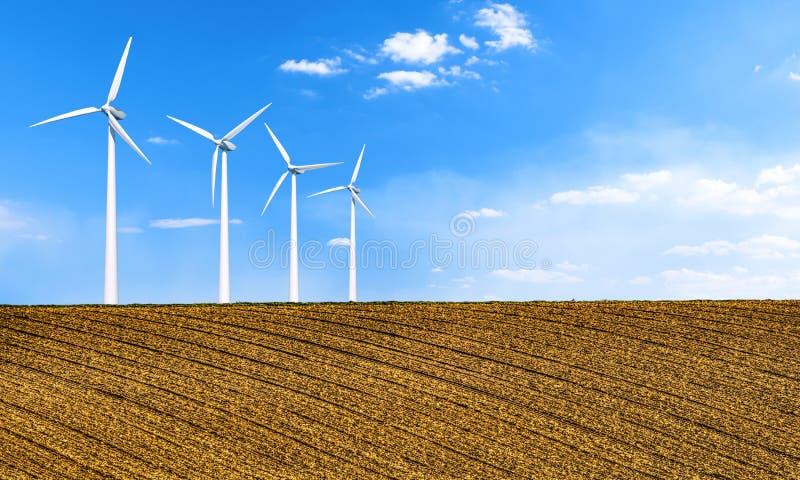 Energia odnawialna z silnikami wiatrowymi turbina śródpolny wiatr Ekologii środowiskowy tło dla prezentacji i stron internetowych fotografia stock