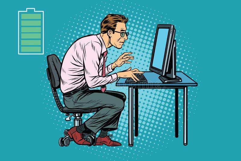 Energia para o trabalho, homem de negócios do escritório no computador ilustração do vetor