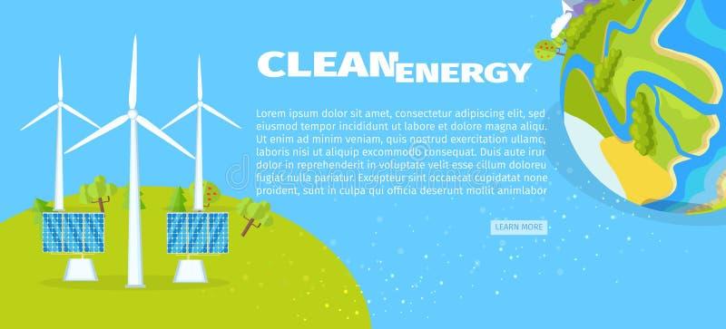 Energia pulita con i pannelli solari ed il manifesto del pianeta royalty illustrazione gratis