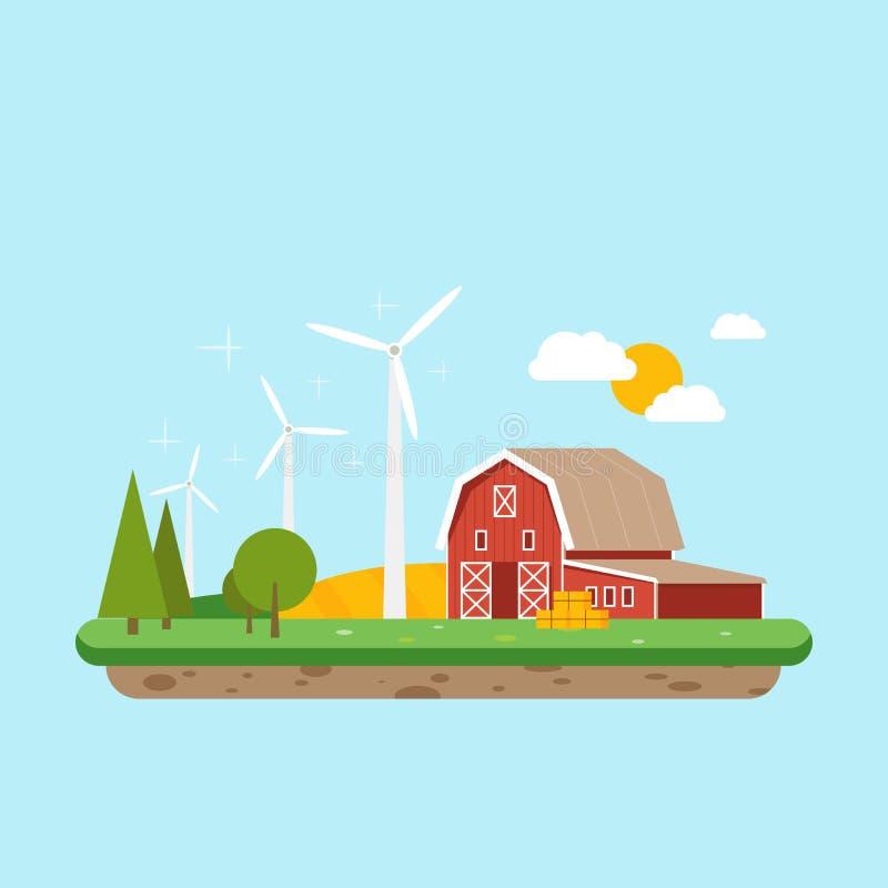 Energia pulita nelle zone rurali Granaio dell'azienda agricola vicino agli alberi ed al giacimento di grano Vettore, illustrazion illustrazione di stock