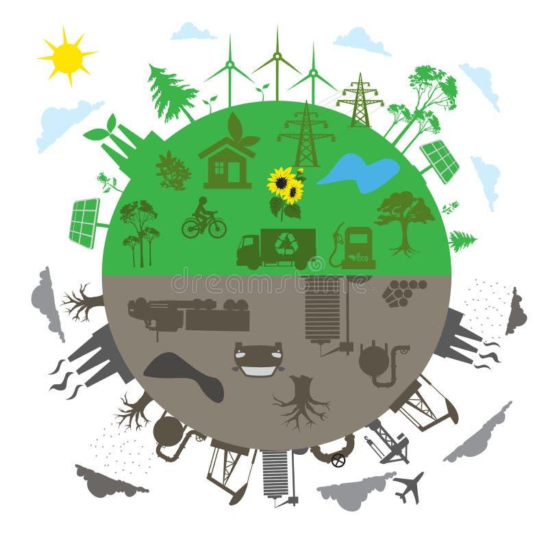 Energia renovável contra o conceito tradicional da energia no projeto liso, app, bandeira ilustração royalty free