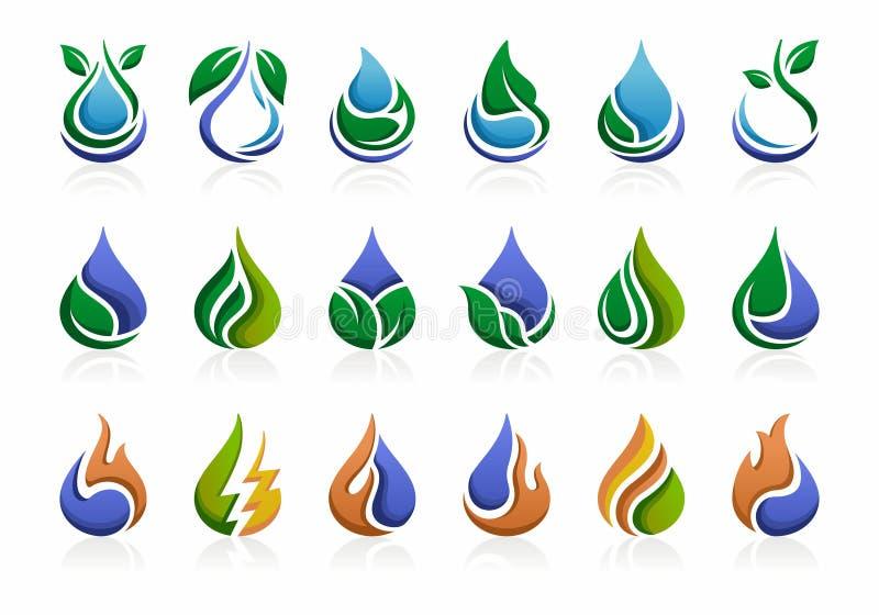 Energia renovável, Logo Template Oil e gás, água, chama, folha, natureza, verde, ecologia ilustração royalty free