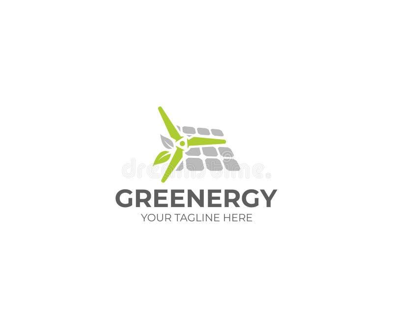 Energia renovável Logo Template Windpower e projeto do vetor do painel solar ilustração stock
