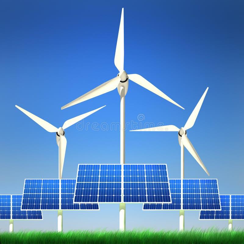 Energia rinnovabile - comitati solari ed energia eolica illustrazione vettoriale