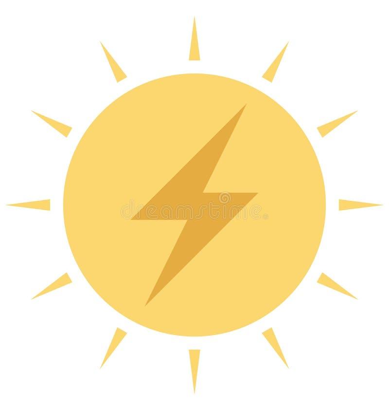 Energia solar, ícone isolado cor do vetor das energias solares ilustração do vetor