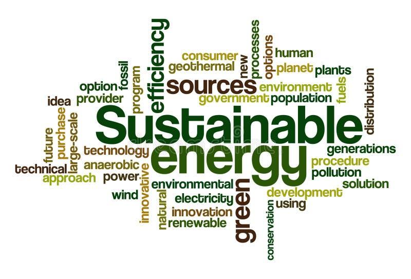 Energia sostenibile - nube di parola illustrazione di stock