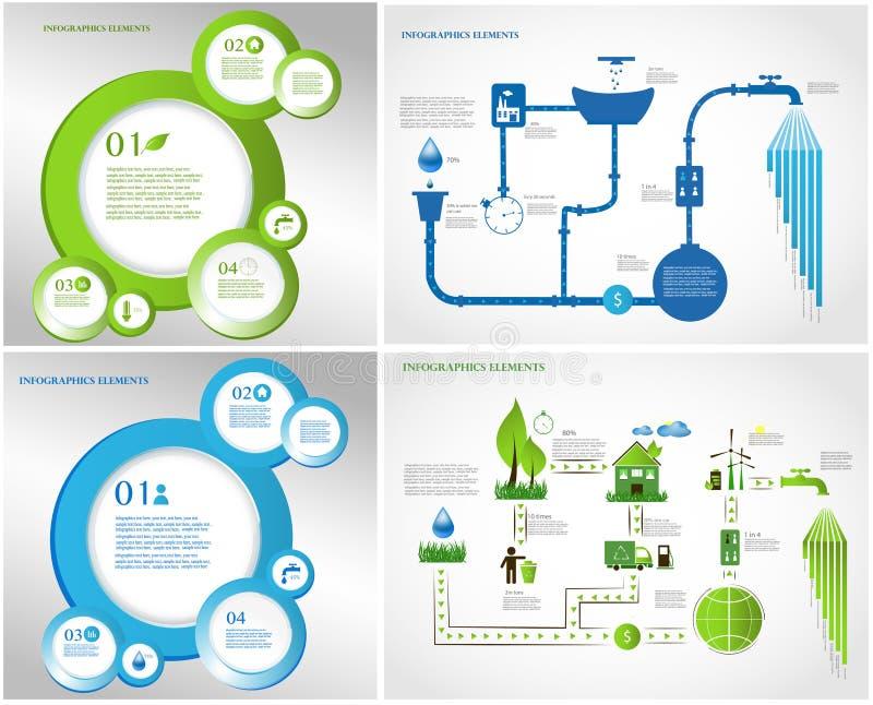 Energia verde, coleção dos gráficos da informação da ecologia ilustração stock