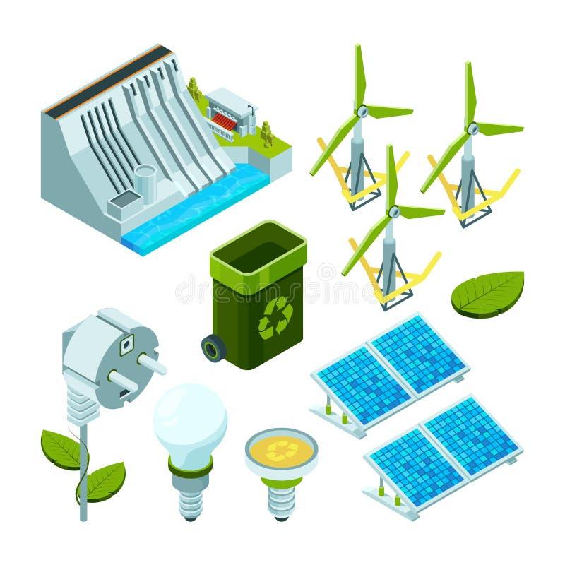 Energia verde Ecossistema bonde das turbinas do poder da fábrica da economia símbolos isométricos do vetor da tecnologia 3d do hi ilustração royalty free