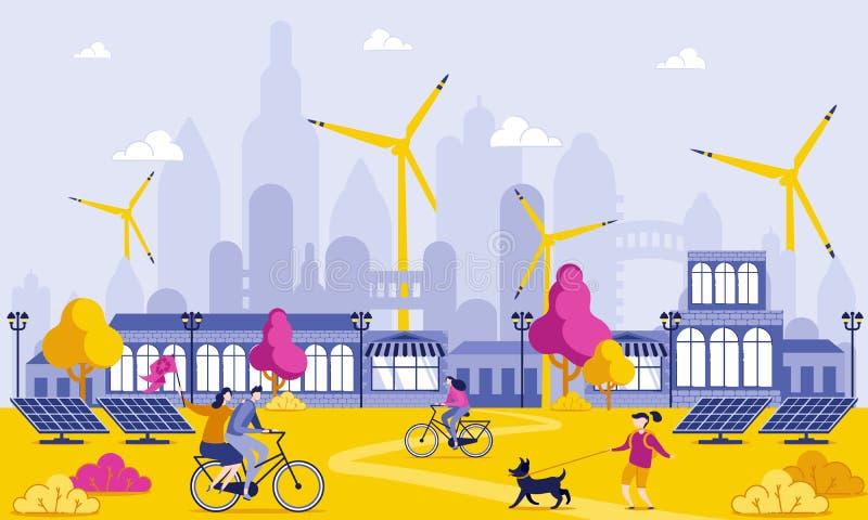 Energia verde na ilustra??o grande dos desenhos animados da cidade ilustração royalty free