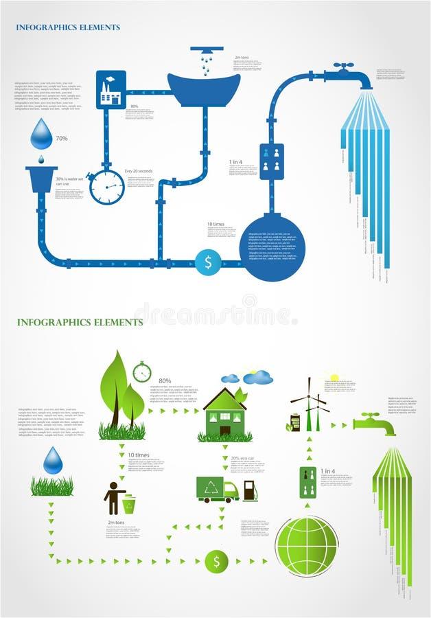 Energia verde, raccolta dei grafici di informazioni di ecologia illustrazione di stock