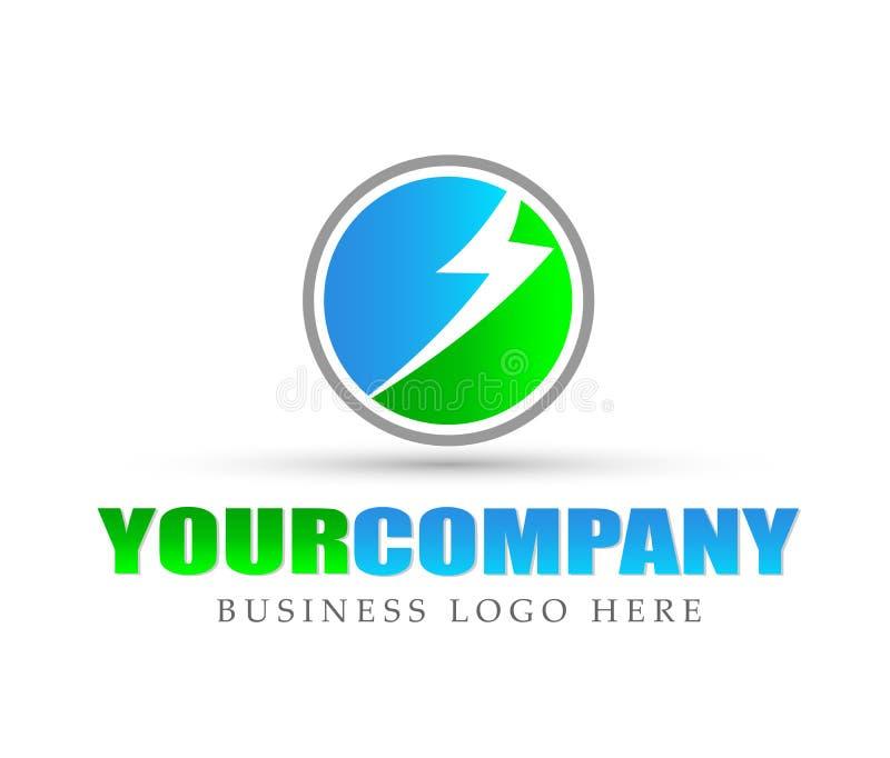 Energia zielony kula ziemska loga ikony elementu znak na białym tle ilustracji
