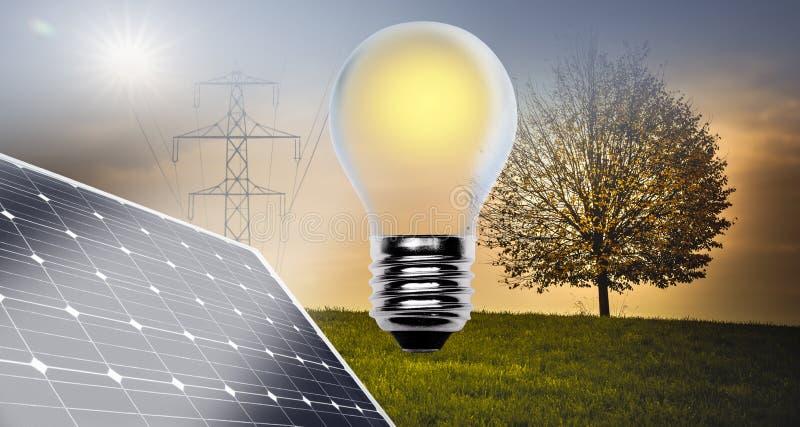 Energias alternativas que compõem ilustração royalty free