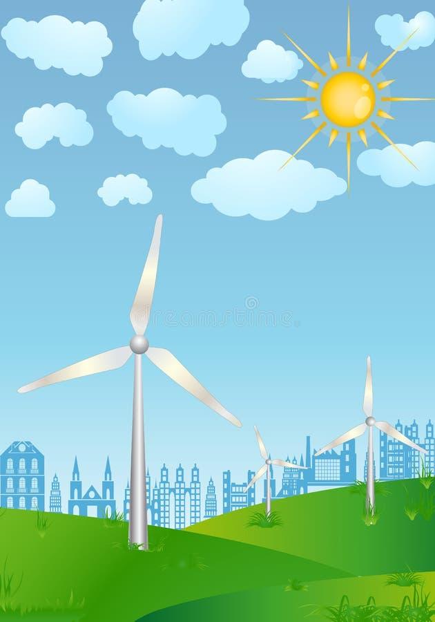 Energias eólicas ilustração do vetor