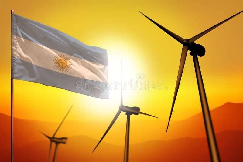 Energias eólicas de Argentina, conceito do ambiente da energia alternativa com turbinas eólicas e bandeira na ilustração industri ilustração royalty free