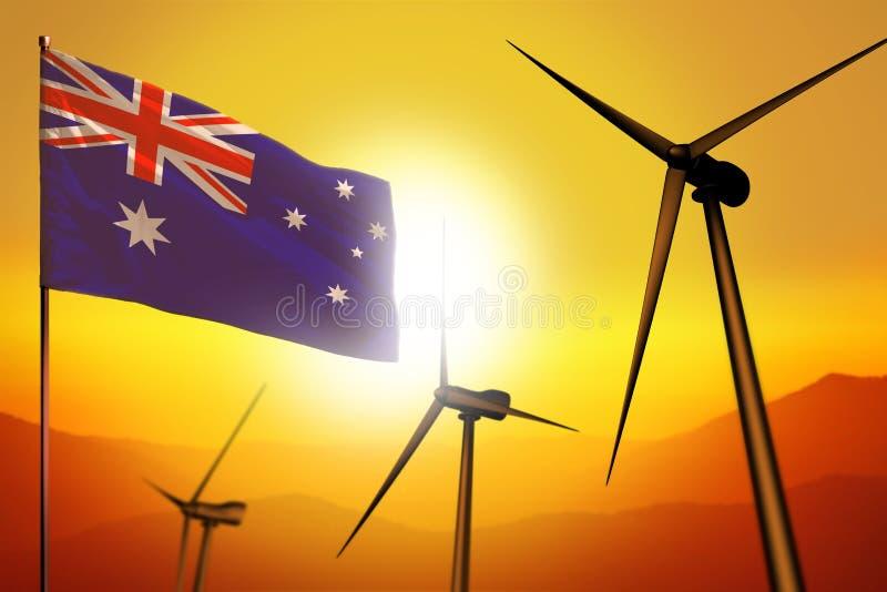 Energias eólicas de Austrália, conceito do ambiente da energia alternativa com turbinas e bandeira no por do sol - energia renová ilustração stock
