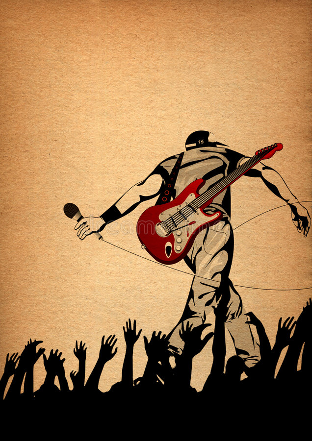Energic live performance on the stage,conceptual illustration royalty free illustration