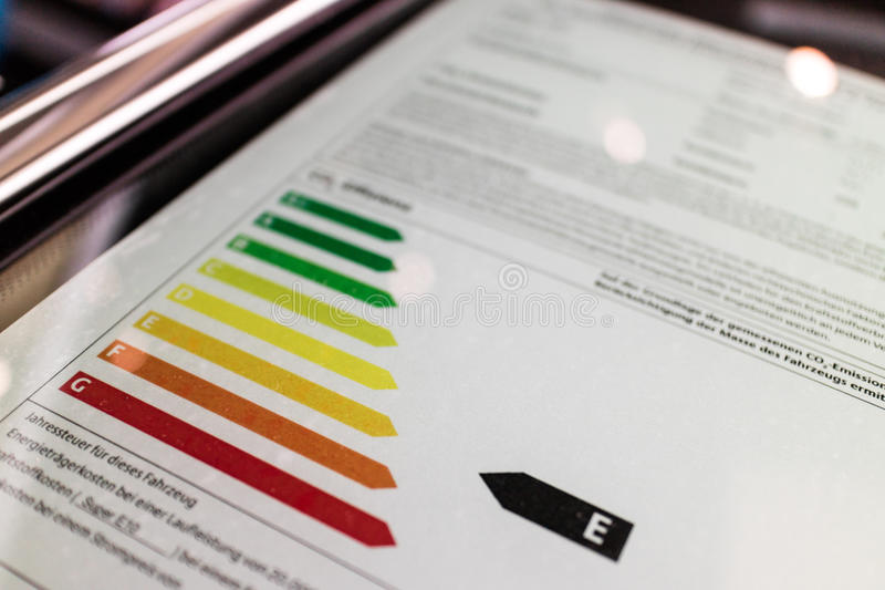Energicertifikat för maktförbrukning arkivbilder