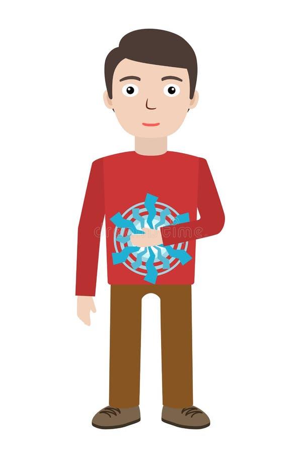 Energiczny gojenie Mężczyzna ono uzdrawia z energii polem Pranic gojenie royalty ilustracja