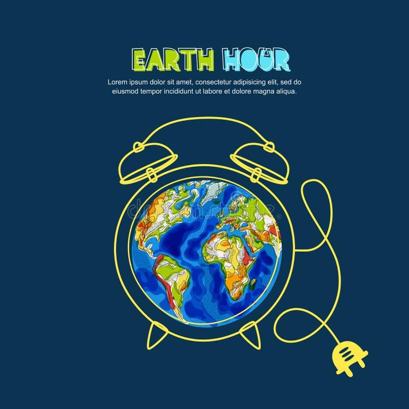 Energie - besparing en het concept van het Aardeuur Vectorillustratie van groene Aardeplaneet in wekkervorm op blauwe achtergrond stock illustratie